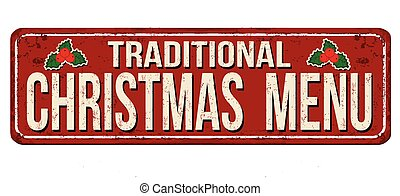 Traditional Christmas menu vintage rusty metal sign