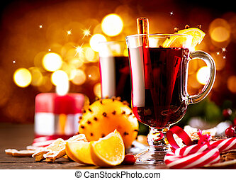 Traditional Christmas mulled wine hot drink. Holiday ...