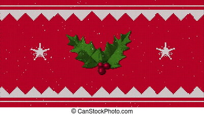 Animation of white traditional Christmas pattern with holly branch and stars moving in seamless loop with snow falling on red background. Christmas season festivity concept digitally generated image.