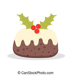 Traditional Christmas Pudding with Holly, vector...