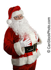 A thee quarters view of a traditional santa claus smiling against a white background.