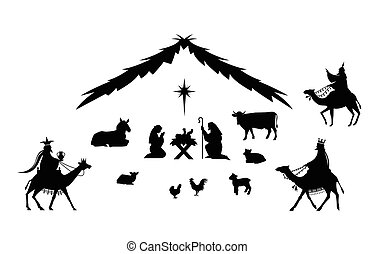 Traditional Christmas scene. Vector background with nativity...