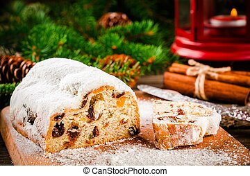 Traditional christmas stollen fruit cake