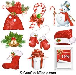 Traditional Christmas symbols. Vector illustration.