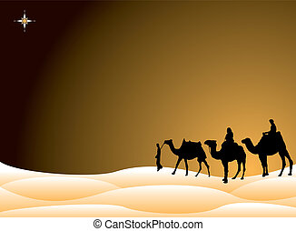 Traditional christmas scene with the three kings on camels crossing the desert