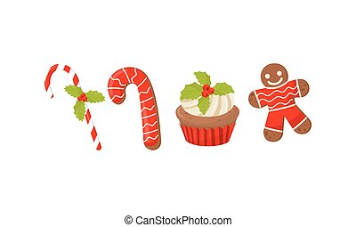 Traditional Christmas Treat and Dessert with Candy Cane and Gingerbread Man Cookie Vector Set
