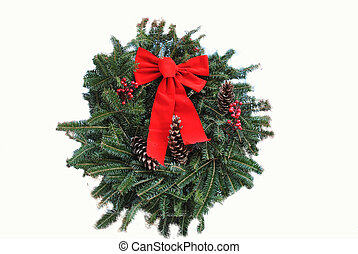 Traditional Christmas Wreath - A Green Christmas Wreath with...