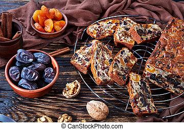 traditional chunky dried fruits cake loaf