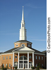Church - Traditional Church with White Steeple
