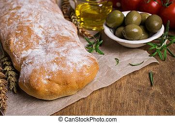 Traditional ciabatta bread