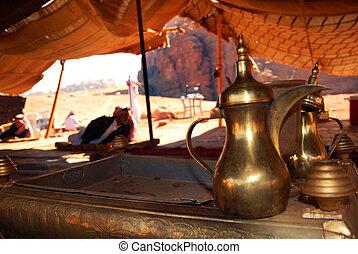Traditional coffee and tea pot inside a Jordanian bedouin...