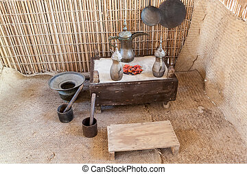Traditional coffeepot in a bedouin tent. Middle East, United Arab Emirates