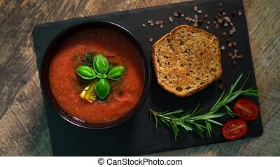 Traditional cold spanish tomato gazpacho soup.