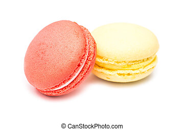 Traditional Colored French Macaroons Isolated On White