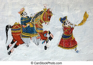 Traditional colourful medieval wall painting in Udaipur