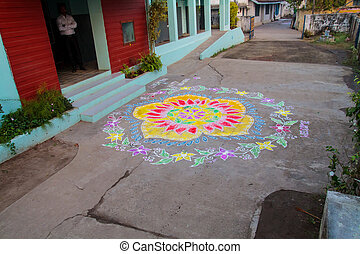 Traditional colourful Rangoli designs welcoming new-year south indian thresholds