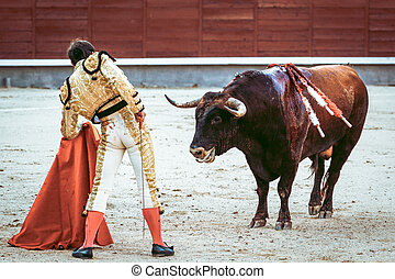 Traditional corrida, bullfighting in spain. Bulfighting has been prohibited in Catalunia since 2011 for animal torturing.
