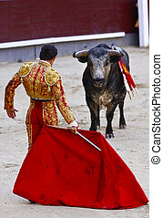 MADRID - JUNE 25: Novilladas in Las Ventas. Novillero: Francisco Montiel. Bulfighting has been prohibited in Catalunia since 2011 for animal torturing. June 25, 2011 in Madrid (Spain)