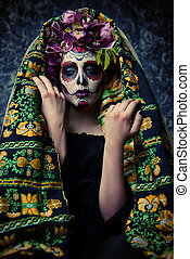 traditional costume on muertos - Closeup portrait of...