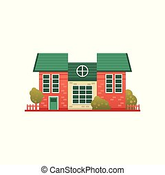 Traditional cottage building, real estate, front view vector...