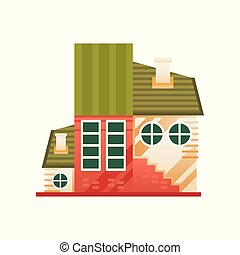 Traditional country cottage, front view vector Illustration on a white background