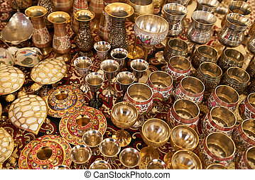 Traditional crafted vases of India