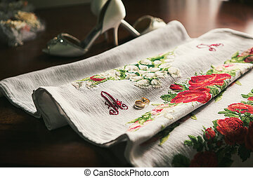 Two wedding rings on cloth