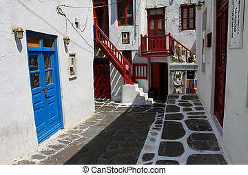 Traditional Cycladic architecture of Mykonos. (Greece, ...