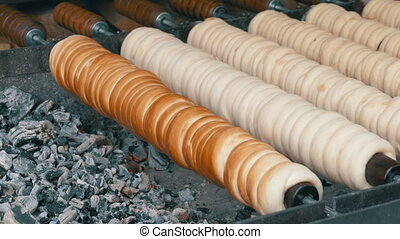 Traditional Czech and Hungarian Sweet Bakery Trdelnik Cooked...