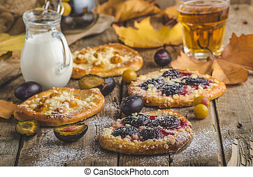 Traditional Czech cake with plums and prunes with milk