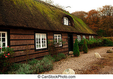 Traditional Danish house in the small village with small nice cottages and green fences. DENMARK NATURE. DENMARK FARM HOUSE.
