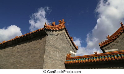 roof of a Buddhist temple, Beijing - Traditional decoration...