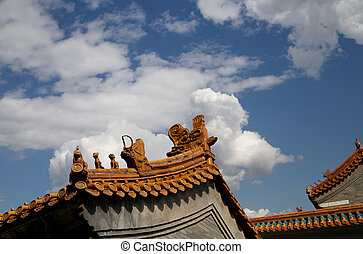 Traditional decoration of the roof of a Buddhist temple, Beijing, China