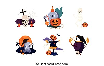 Traditional design elements of Halloween set, scary symbols vector Illustration