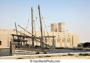 Traditional dhow at the Sheikh Faisal Museum in Qatar,...