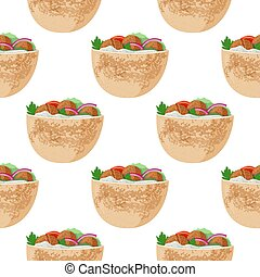 Traditional dish of Jewish cuisine Falafel pita sandwich. Vegetarian food. Meal background. Seamless pattern.
