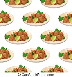 Traditional dish of Jewish cuisine Falafel. Vegetarian food on beige plate background. Meal seamless pattern.