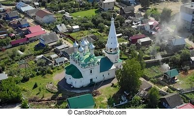 Aerial view of Spasskaya Tserkov, a traditional orthodox church, with its onion domes and spires, in the town of Balakhna, Russia