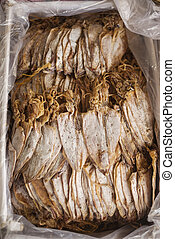 traditional dried squid in kep market cambodia