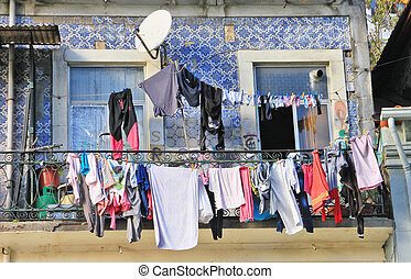 Traditional drying the linen in Portugals