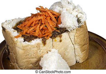 Traditional Durban Mutton Bunny Chow with Sambal -...