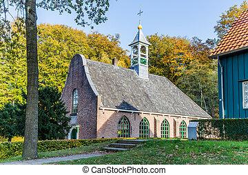 Traditional Dutch church scene