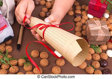 Traditional Dutch holiday for children Sinterklaas. Winter...
