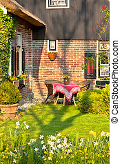 Traditional Dutch house with garden