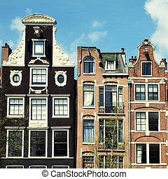 Traditional dutch medieval buildings in Amsterdam, Netherlands