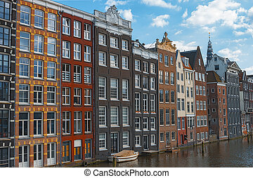 Traditional dutch old houses Amsterdam Netherlands