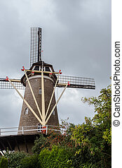 Traditional dutch windmill in the Netherlands close-up