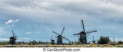 Traditional dutch windmills