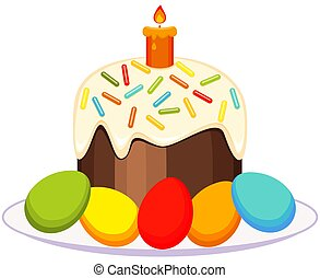 Traditional easter cake candle eggs on plate icon