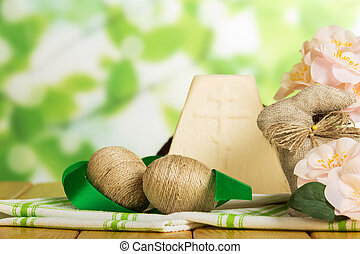 Traditional Easter cheese dessert, Bunny, eggs, cloth,...
